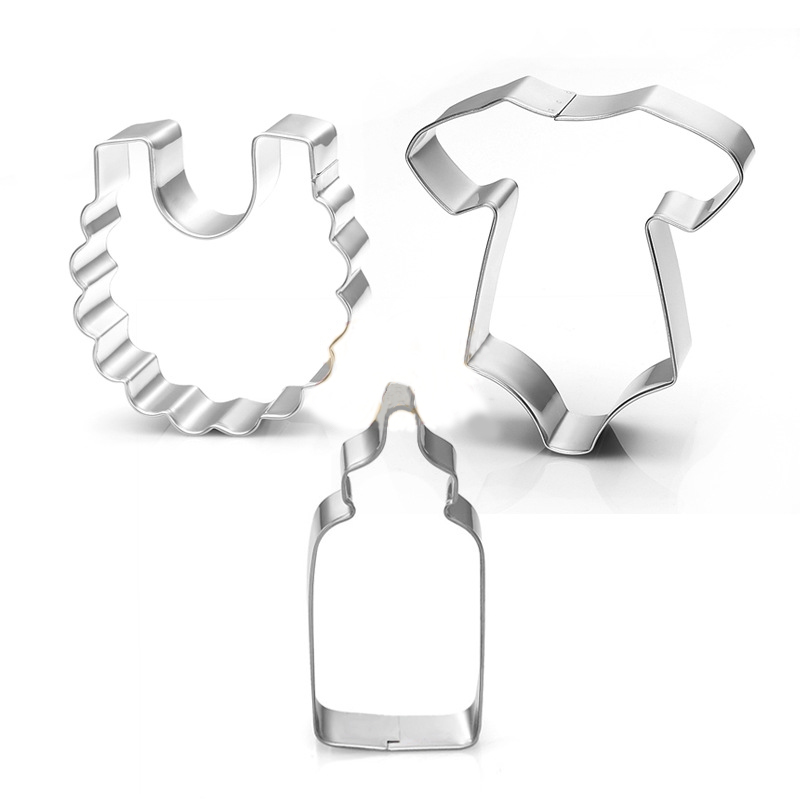 3pcs stainless steel baby shower bottle bib cookie cutter mold cake chrismas bottle cake pastry kitchen