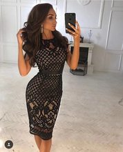 Top quality black lace bandage sexy sleeveless high neck mini dress  cocktail party dress wholesale and retail 0aa9c8d67935