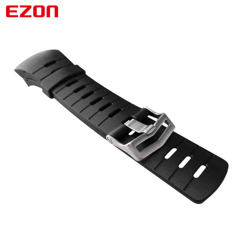 Image 2 - Original 24mm Black Silicone Rubber Watch Strap Sports Watch Band For Wristwatch EZON L008 T023 T029 T031 G1 G2 G3 S2 H001 T007-in Watchbands from Watches