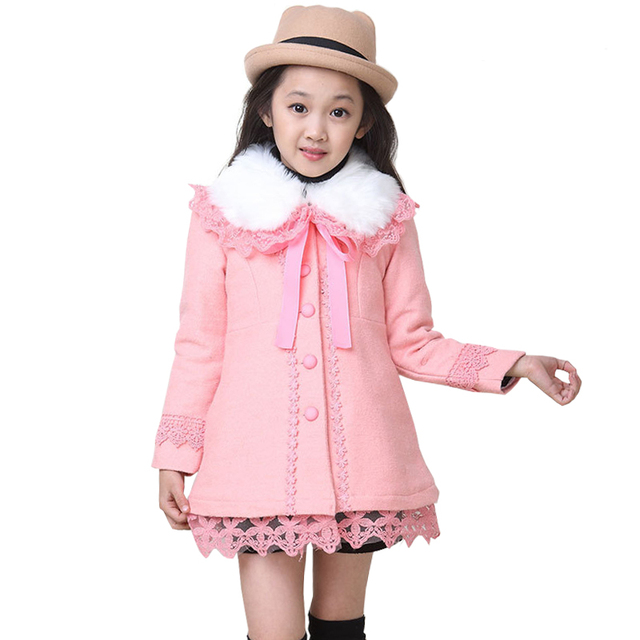 Girls Wool coats Kids Winter Jackets Baby clothes Red and Pink Overcoat for Girl Snow Outerwear Outdoor parkas
