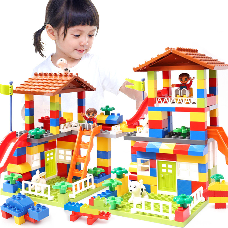 DIY Duplo Block Colorful City House Roof Big Particle Building Blocks Castle Educational Toy For Children Compatible LegoINGlys gudi block city large passenger plane airplane block assembly compatible all brand building blocks educational toys for children