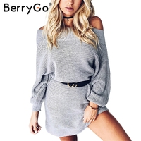 BerryGo Sexy Off Shoulder Knitted Sweater Dress Women Loose Winter Long Pullover Dress Female Batwing Sleeve
