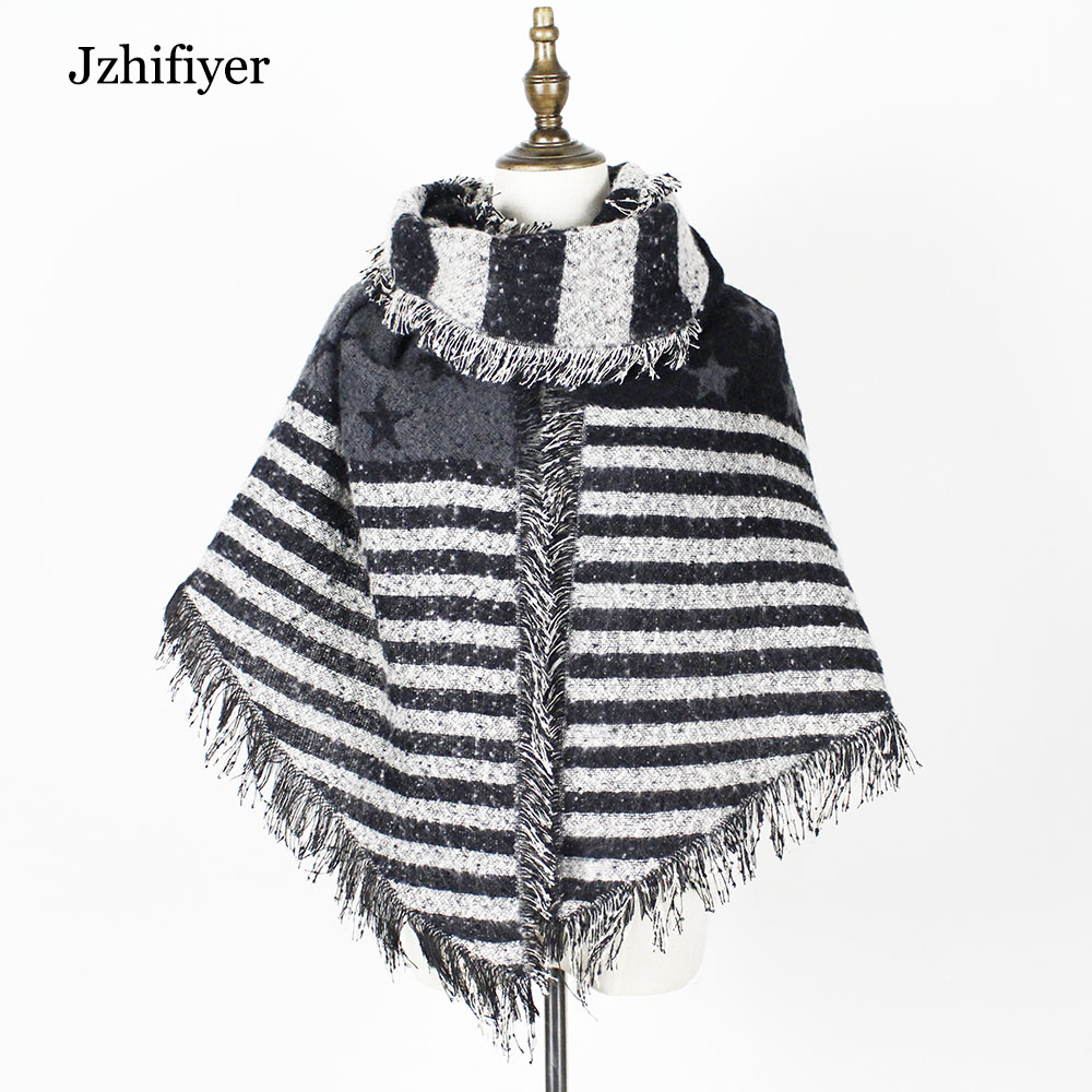 jzhifiyer YX159 Loop yarn inverno <font><b>scarf</b></font> women tartan cashmere <font><b>scarves</b></font> star <font><b>scarf</b></font> blanket oversized wraps Jack union shawls beve
