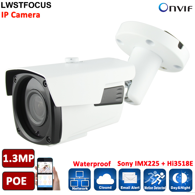 LWSTFOCUS 1/3'' SONY IMX225 Sensor Camera IP Manual Zoom Len 2.8mm-12mm 4PCS Array Led IP66 IP CAMERA Outdoor POE Optiional 960P удлинитель zoom ecm 3