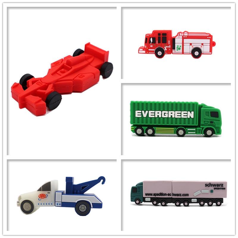 Pendrive Five Style Cars Usb Flash Drive Truck/crane/Fire Truck Memory Stick 4GB 8GB 16GB 32GB 64GB Creative Gfit Pen Drive Cle