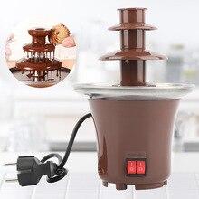 Шоколадный фонтан фондюшница фонтан шоколадный мини шоколадный фонтан три слоя творческий дизайн Шоколад расплава с подогревом фондюшница DIY мини-водопад Hotpot