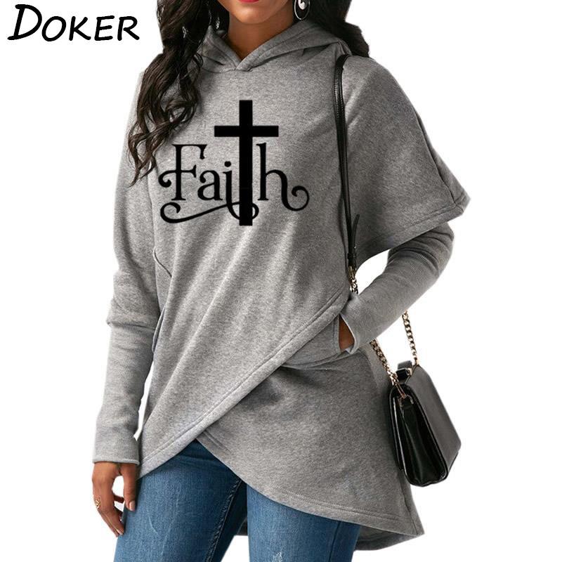 2018 otoño nueva fe carta de impresión de moda sudaderas con capucha de las mujeres Sudadera con capucha Sudadera Mujer Casual cálido Tops 6 colores