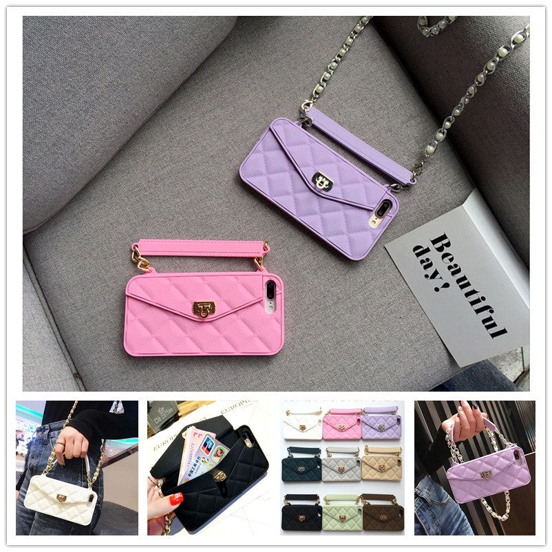 New Luxury Handbag wallet <font><b>card</b></font> bag long pearl chain soft silicone phone <font><b>case</b></font> For iphone XS MAX XR XS 7 6S 8 plus X fashion cover image