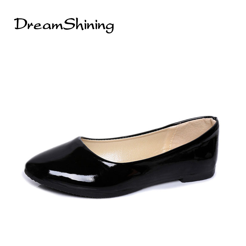 DreamShining Women Shoes Flat Patent Leather Platform Heels Shoes 7 Colors Women Pointed Toe Leather Girl Shoes dreamshining high quality patent leather wine red women causal pointed toe shoes bow knot ladies flat loafers shoes