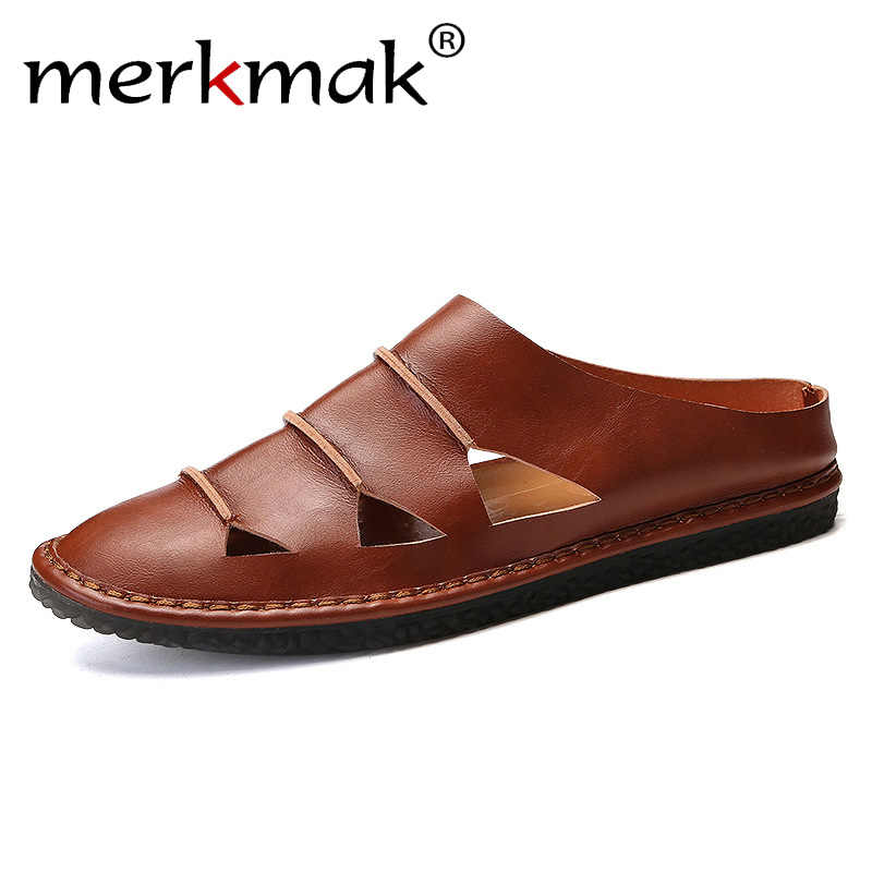 2ba4880c5001 Men Shoes 2019 Summer Hollow Slippers Fashion Outdoor Breathable Casual  Slides Beach Sandal Geniune Leather Flats