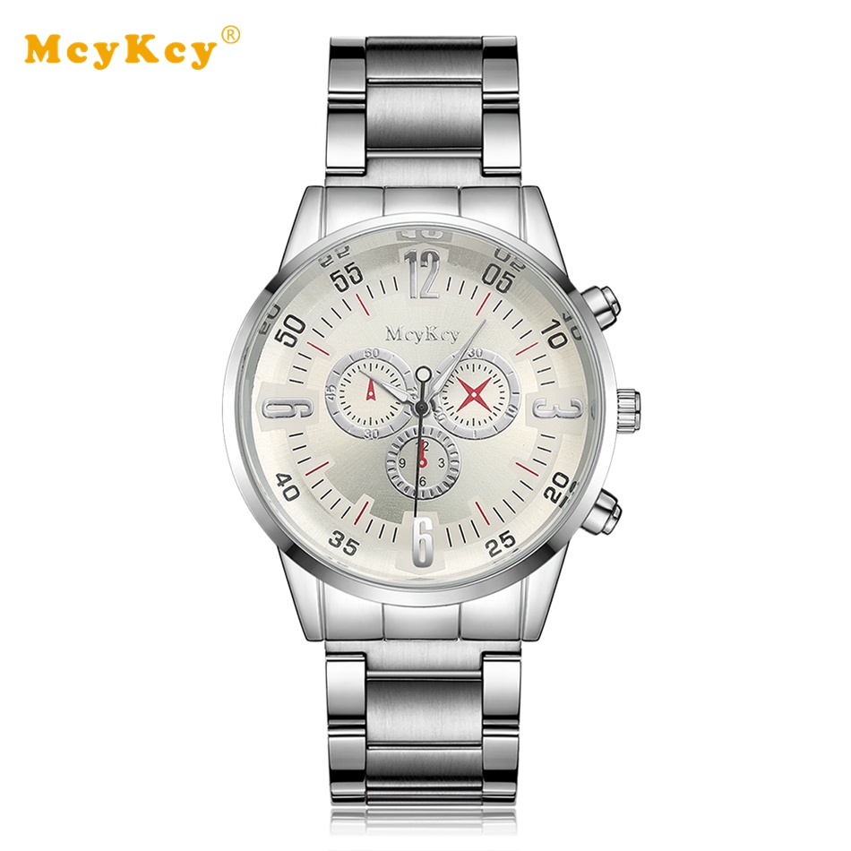 Mcykcy Brand Men Luxury Stainless Steel Watch Silver Business Quartz Wristwatch Fashion Casual Relogio Dress Watches Clock MY039 women men quartz silver watches onlyou brand luxury ladies dress watch steel wristwatches male female watch date clock 8877