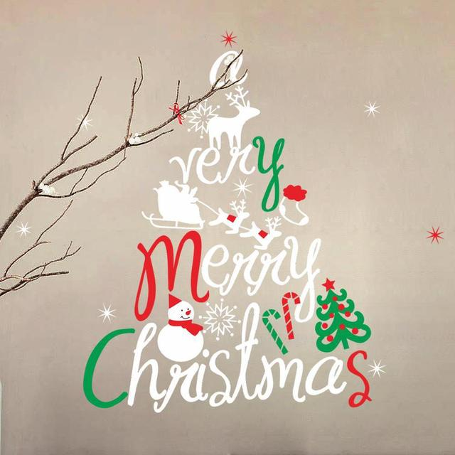 Free Shipping New Arrival Removable Christmas Tree Wall Sticker Snow Man Wall  Decal Merry Christmas