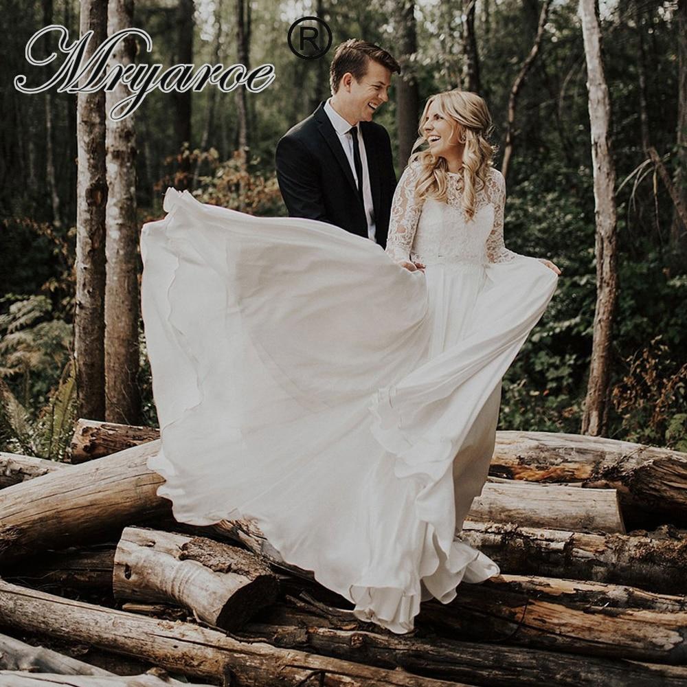 Mryarce Two Piece Rustic Wedding Dress 2019 Lace Crop Top