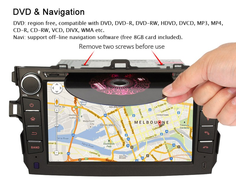 8 inch car dvd for toyota corolla 5