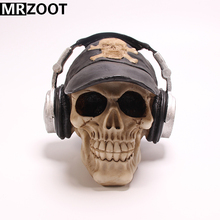 MRZOOT Gothic Punk Resin Crafts Home and Halloween Decoration Personalized Creative Headset Boy Skull Sculpture Model