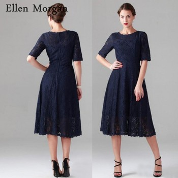Navy Blue Mother of the Bride Groom Lace Dresses 2019 for Summer Cheap Boat Neck Short Sleeves Tea Length Wedding Party Gowns