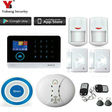 YobangSecurity Wireless GSM WIFI Home Security Burglar Alarm System Kit Auto Dialing Wireless Strobe Siren Android iOS APP yobangsecurity gsm wifi burglar alarm system security home android ios app control wired siren pir door alarm sensor