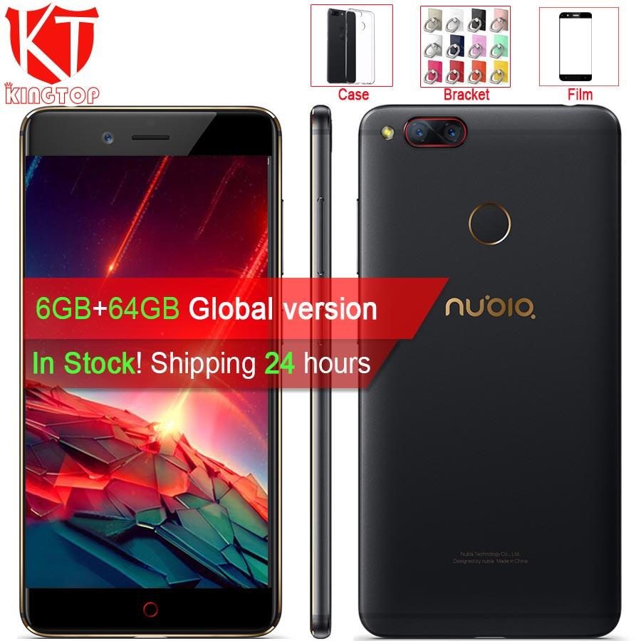 Mondial version ZTE Nubia Z17 mini Mobile Téléphone 5.2 ''6 gb RAM 64 gb ROM Snapdragon 652 Octa Core double Caméra 13MP Android Téléphone