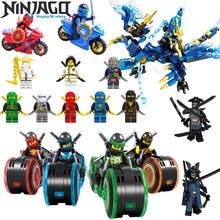 2018 NEW Ninja dragon+Ninja Motorcycle DIY Building Block educational Toys for child gifts Compatible with legoing ninjagoes