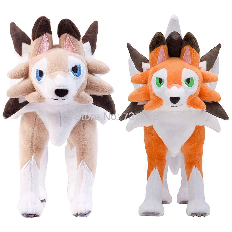 New Stuffed Animals Standing Lycanroc Dusk & Midday Dream Form Plush Soft Doll Figure Toy Sun & Moon 10inch Gift