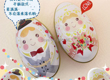 New!! Wholesale 100pcs/Lot  Big Size Tinplate bride and groom Easter Egg Candy box and Storage case for Wedding Favors