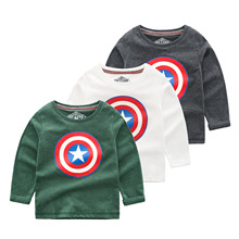 Autumn New Captain America Kids Boys Long Sleeve T Shirts Cotton Tops Youngster Tee Shirt 7-14Year Sweatshirt