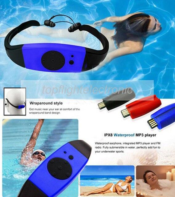 003 4GB/8GB مقاوم للماء IPX8 الغوص السباحة تصفح مشغل MP3 سماعة راديو FM مشغل موسيقى