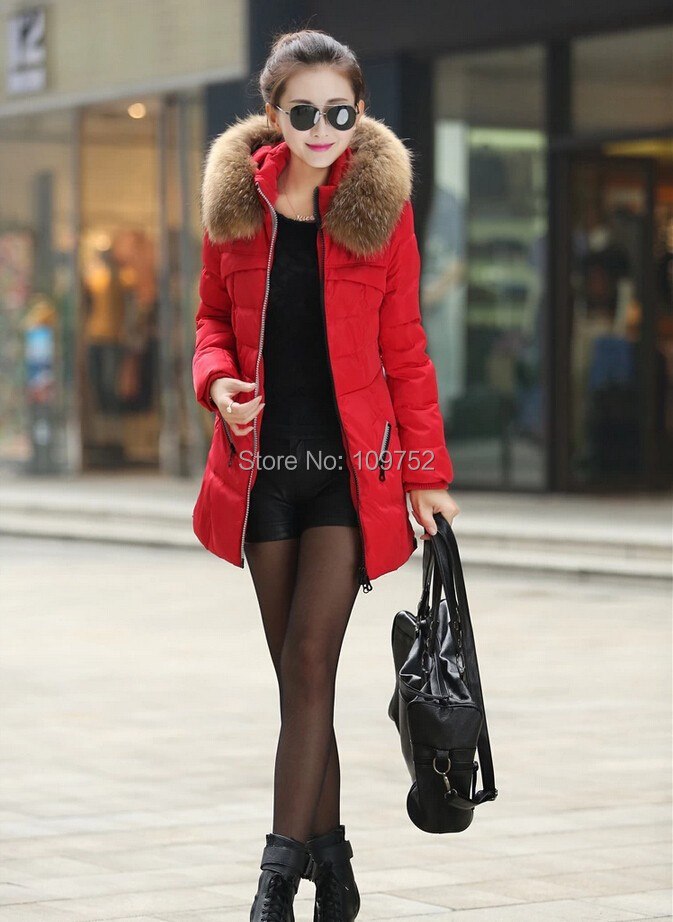 2017 New Women Winter Coat Thicken Slim Female Raccoon Fur Collar And Long Coat Women Parka Winter Coat Plus Size 2017 winter new clothes to overcome the coat of women in the long reed rabbit hair fur fur coat fox raccoon fur collar