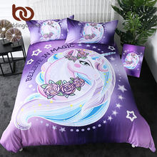 Beddingoutlet Cartoon Eenhoorn Kids Beddengoed Set Koning Rose Bloemen Dekbedovertrek Girly Huishoudtextiel Paars Beddengoed 3 Pcs Drop Schip(China)