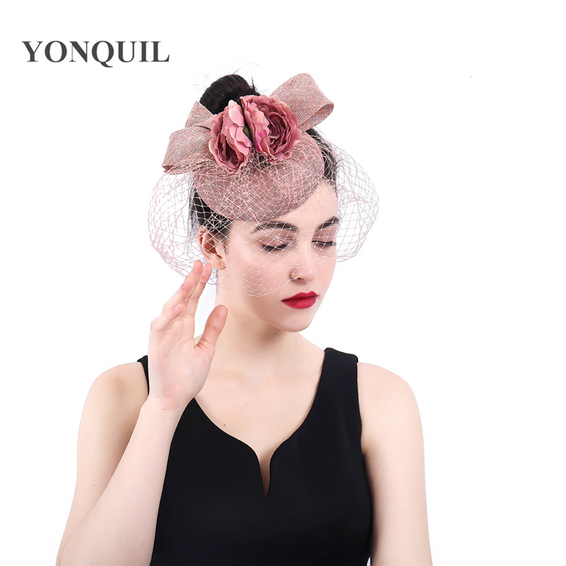 Peach headwear bow and flower hat fascinator wedding ladies days race Ascot  veils hats bridal married headdress fedora chapeau-in Women s Hair  Accessories ... 5b334a2eea8
