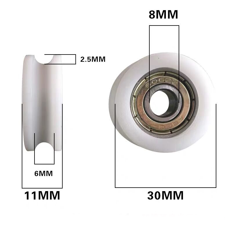 8*30*11mm Nylon Plastic Embedded 608 U Groove Ball Bearing Guide Pulley XS