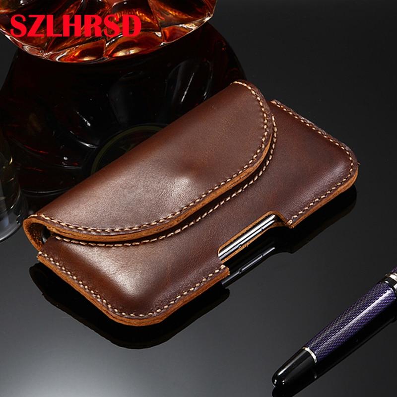 High quality Handmade 100% Genuine Leather Men's Waist Bag Outdoor Phone Bag for Blackview BV5900 Case for UMIDIGI X Cover