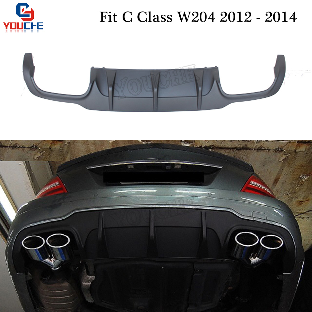 C63 Style ABS Plastic <font><b>Rear</b></font> <font><b>Diffuser</b></font> for Mercedes W204 C63 2012 2013 2014 C180 C220 C200 C250 <font><b>C300</b></font> C350 <font><b>Rear</b></font> Bumper Lid 4-outlet image