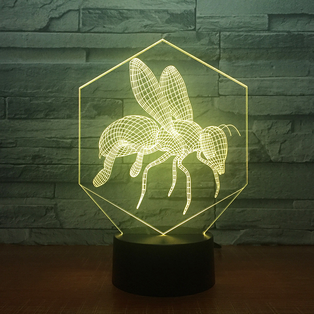 7 Color Changing Usb 3D Led Bees Cartoon Modelling Table Lamp Bedroom Atmospheres Night Light Bedside Decor Baby Sleep Lightings