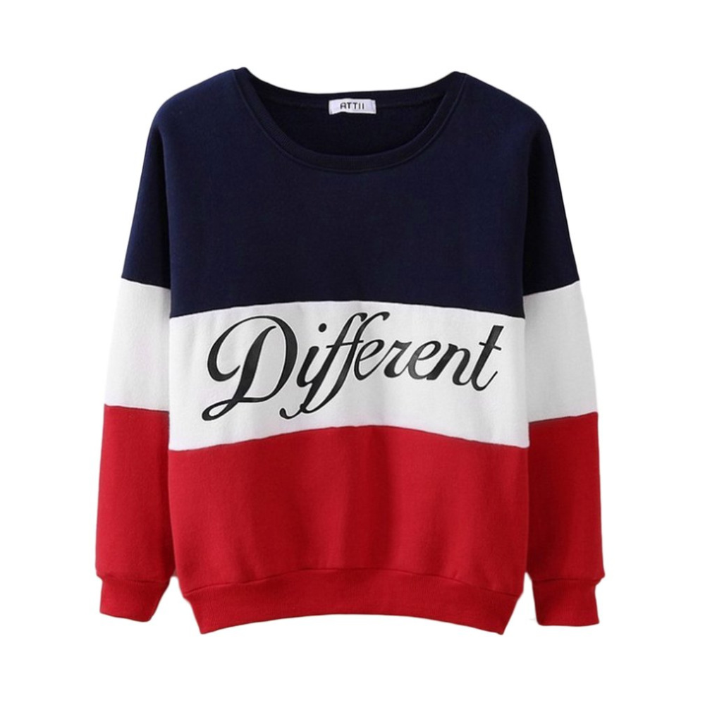 Fashion Letter Different Printed Women Fleeve Hoodies 2018 Spring Long Sleeve Sweatshirt Patchwork O-neck Pullovers Sudaderas