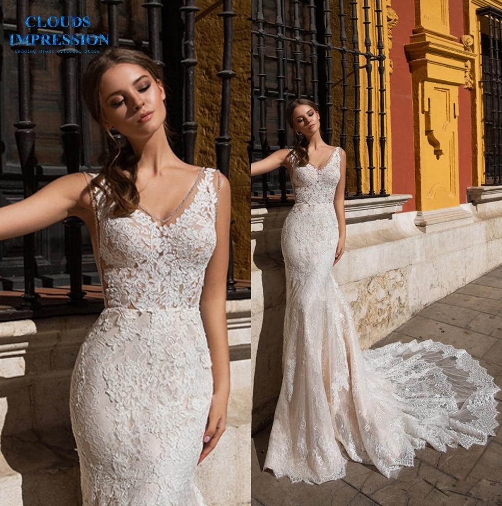 Strapless Mermaid Wedding Gown: CLOUDS IMPRESSION Vestido De Novia Strapless Appliques
