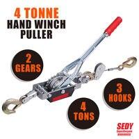 4 Ton Hand Winch Puller 3 Hooks Car 4x4 4WD Trailer Truck Come Along Hoist Lift
