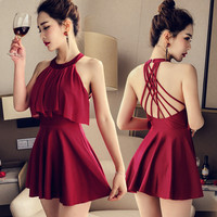 Women one piece swimsuit Slim summer Lace Solid color Skirt style Sexy Open back one piece swimsuit Woman 7040