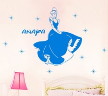 Free Shipping Disney Princess Cinderella Personalized Name Wall Stickers Kids Vinyl Decal