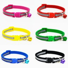 Colorful Reflective Safety Buckle Collar With Bell For Pets