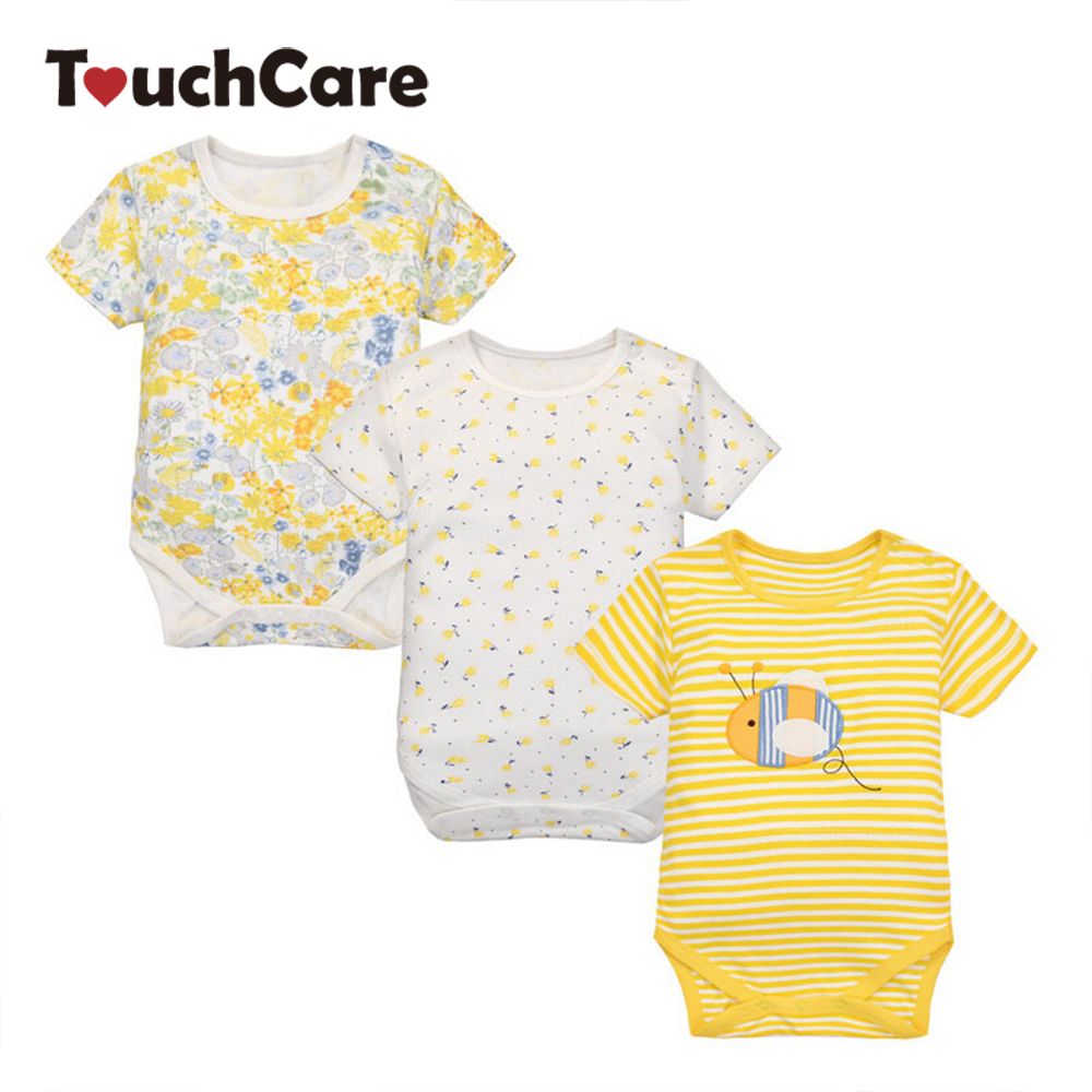 3Pcs/lot Bee Printed Cotton Baby Rompers Newborn Infant Boy Girl Short Sleeve Jumpsuit Kids Clothes Toddler Roupas De Bebe cotton baby rompers infant toddler jumpsuit lace collar short sleeve baby girl clothing newborn bebe overall clothes h3