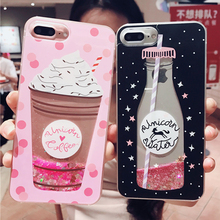 LOVECOM Cute Quicksand Glitter Ice Cream Bottle Animal Case For Samsung S8 S9 Plus Note 8 9 S10e iPhone 7 8 X XR Soft Cover Gift
