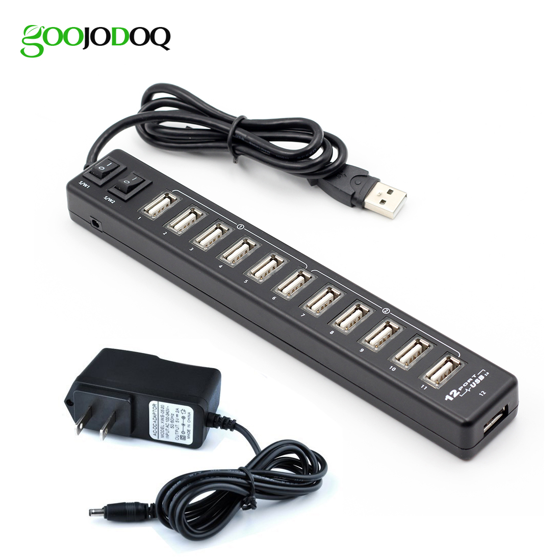 GOOJODOQ High Quality 12 Ports USB 2.0 Hub With 2 Switch For Laptop PC + Power Adapter Supports Hot Swapping