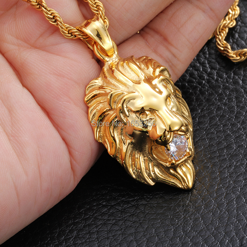 Charm Crystal 316L Stainless Steel Yellow Gold Tone Lion Biker Pendant Necklace