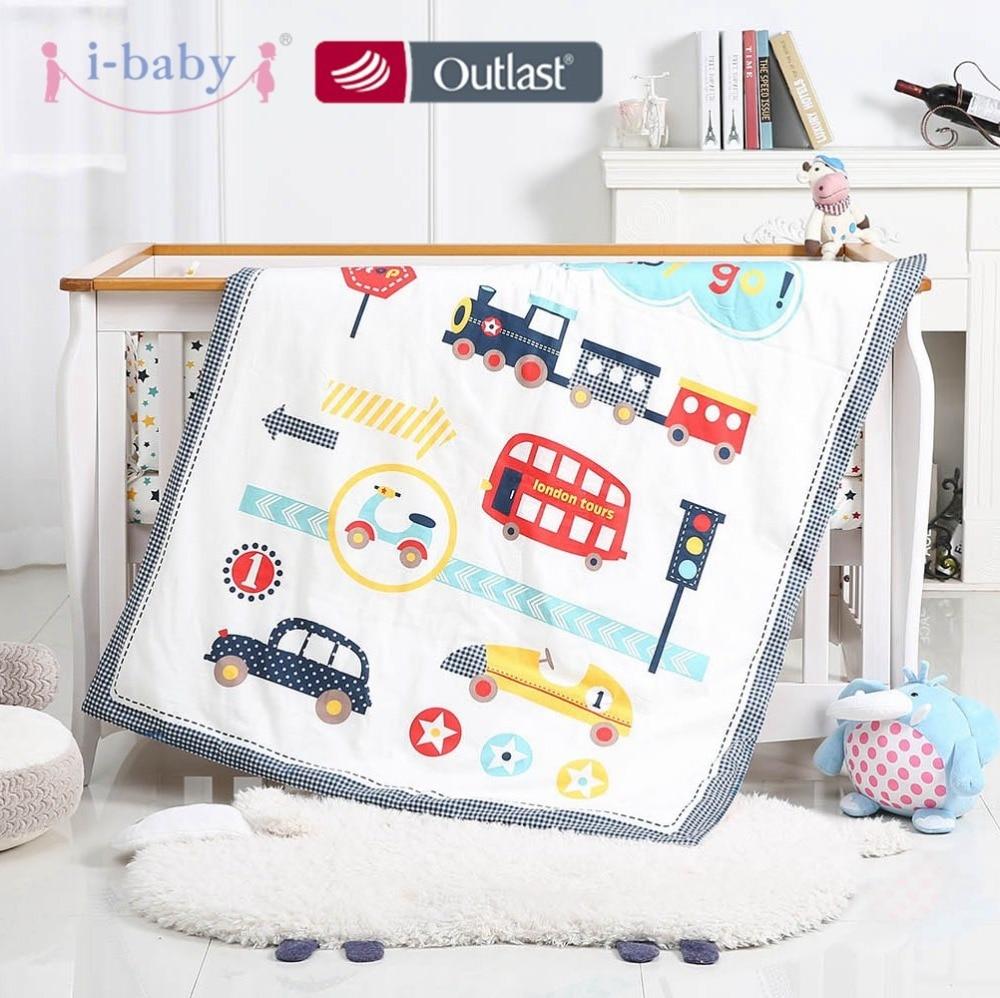 i baby Baby Bedding Set 9pcs Crib Set Newborn Journey Car Cotton Printed Cot Sheet Duvet