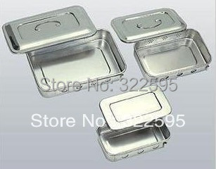 free shipping 24x16x5cm stainless steel medical use tray with cover with hole medical micro plastic use stainless steel