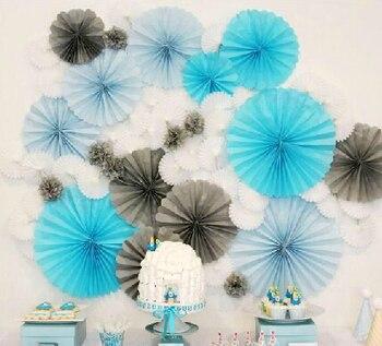 versioin 30cm 50pcs/Lot Paper Fan Blue Wedding Decoration Centerpieces Flower Craft Supplies Birthday Wedding Favours