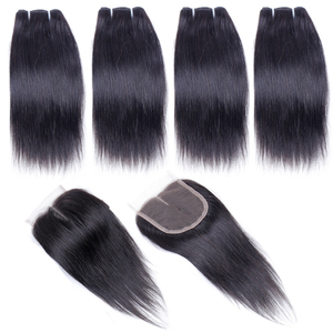 Image 5 - Human Hair Bundles with Closure Straight Brazilian Hair 4 Bundles with Middle Part Closure 100% Remy Human Weaving for Wig 8""