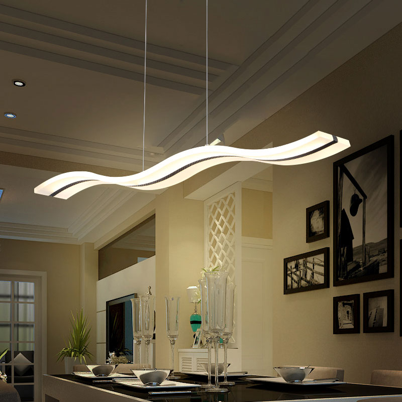 ФОТО Creative modern wave LED pendant lights S 38W adjustable hanging lamp dining room restaurant living room pendant light 110V 220V