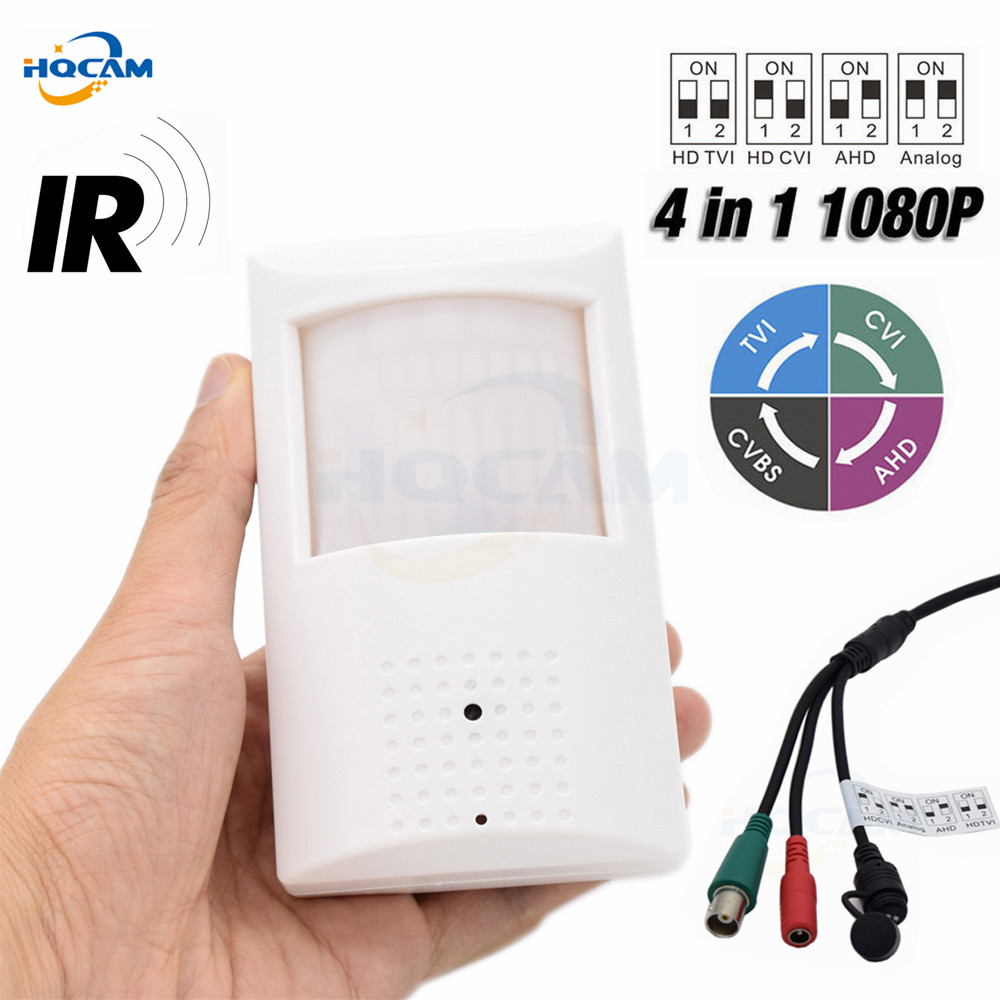 HQCAM Mini IR Camera 2MP 1080P 4 IN 1 AHD/CVI/TVI/CVBS Camera Infrared Night Vision IR LED Indoor Security OSD DIP Switch IMX323 4 in 1 ahd camera 720p 1080p hd cctv dome cvi tvi camera cvbs night vision cmos 2000tvl hybrid camera security osd menu switch